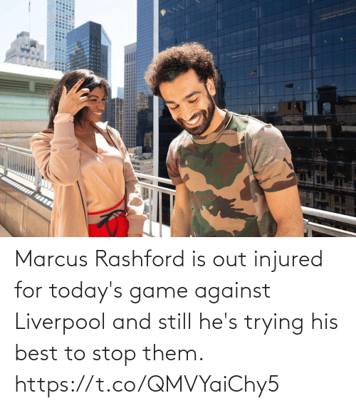 And Still: Marcus Rashford is out injured for today's game against Liverpool and still he's trying his best to stop them. https://t.co/QMVYaiChy5