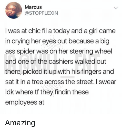 Ass, Crying, and Memes: Marcus  @STOPFLEXIN  I was at chic fil a today and a girl came  in crying her eyes out because a big  ass spider was on her steering wheel  and one of the cashiers walked out  there, picked it up with his fingers and  sat it in a tree across the street. I swear  ldk where tf they findin these  employees at Amazing