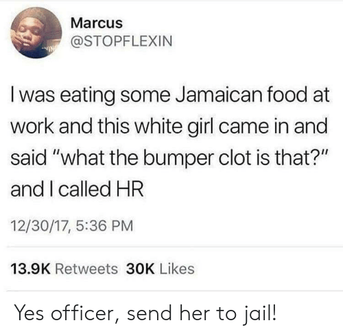 """white girl: Marcus  @STOPFLEXIN  Iwas eating some Jamaican food at  work and this white girl came in and  said """"what the bumper clot is that?""""  and I called HR  12/30/17, 5:36 PM  13.9K Retweets 30K Likes Yes officer, send her to jail!"""