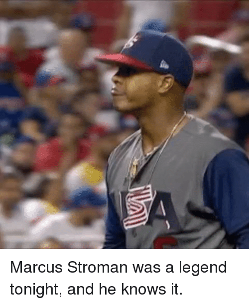 Mlb, Legend, and Legends: Marcus Stroman was a legend tonight, and he knows it.