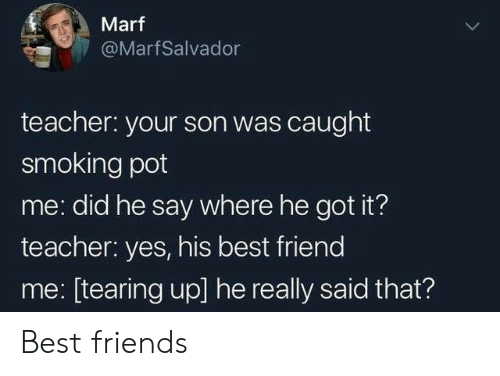 tearing: Marf  @MarfSalvador  teacher: your son was caught  smoking pot  me: did he say where he got it?  teacher: yes, his best friend  me: [tearing up] he really said that? Best friends