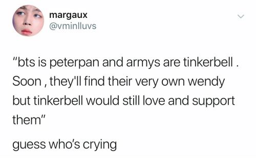 """peterpan: margaux  vminlluvs  """"bts is peterpan and armys are tinkerbell  Soon, they'll find their very own wendy  but tinkerbell would still love and support  them  guess who's crying"""