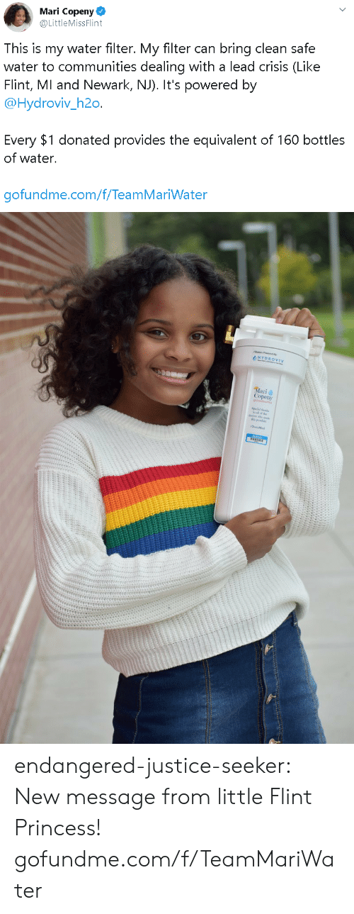 filter: Mari Copeny  @LittleMissFlint  This is my water filter. My filter can bring clean safe  water to communities dealing with a lead crisis (Like  Flint, MI and Newark, NJ). It's powered by  @Hydroviv_h2o.  Every $1 donated provides the equivalent of 160 bottles  of water.  gofundme.com/f/TeamMariWater   HYDROVIV  Mari  Copeny endangered-justice-seeker:    New message from little Flint Princess!   gofundme.com/f/TeamMariWater