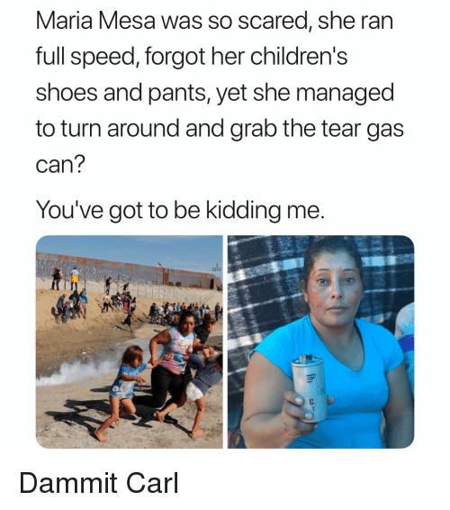tear gas: Maria Mesa was So scared, she ran  full speed, forgot her childrens  shoes and pants, yet she managed  to turn around and grab the tear gas  can  You've got to be kidding me  CM Dammit Carl