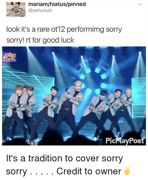 Memes, Sorry, and Good: mariam/hiatus/pinned  asehunult  look it's a rare ot12 performimg sorry  sorry! rt for good luck  PicMayPost It's a tradition to cover sorry sorry . . . . . Credit to owner✌
