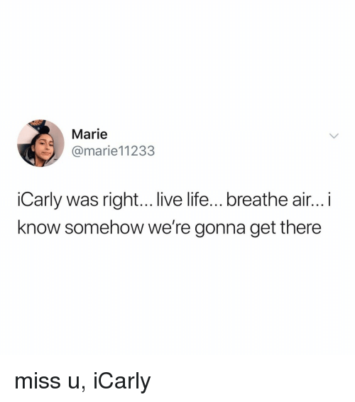 iCarly: Marie  @marie11233  iCarly was right... live life...breathe air... i  know somehow we're gonna get there miss u, iCarly