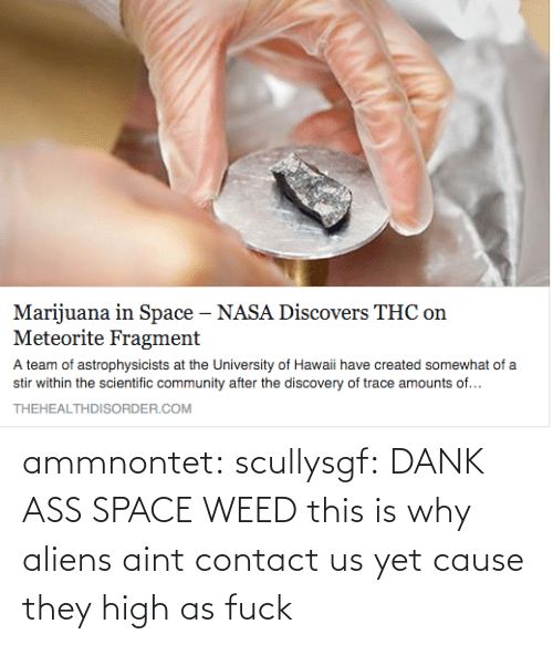 Somewhat Of: Marijuana in Space - NASA Discovers THC on  Meteorite Fragment  A team of astrophysicists at the University of Hawaii have created somewhat of a  stir within the scientific community after the discovery of trace amounts of...  THEHEALTHDISORDER.COM ammnontet:  scullysgf:  DANK ASS SPACE WEED  this is why aliens aint contact us yet cause they high as fuck