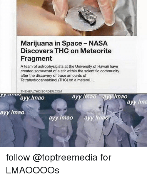 meteorite: Marijuana in Space NASA  Discovers THC on Meteorite  Fragment  A team of astrophysicists at the University of Hawaii have  created somewhat of a stir within the scientific community  after the discovery of trace amounts of  Tetrahydrocannabinol THC) on a meteori...  THEHEALTHDISORDER.COM  ayy mao  ao ayy lmao  ayy lmao  ayy lmao  ayy lmao  Ima follow @toptreemedia for LMAOOOOs