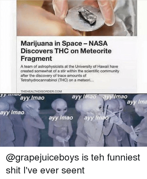 meteorite: Marijuana in Space-NASA  Discovers THC on Meteorite  Fragment  A team of astrophysicists at the University of Hawaii have  created somewhat of a stir within the scientific community  after the discovery of trace amounts of  THEHEALTHDISORDER.COM  ayy maa  Sayy Imao  ayy Imao  ayy Ima  ayy Imao  ayy lmao  ayy lmao @grapejuiceboys is teh funniest shit I've ever seent