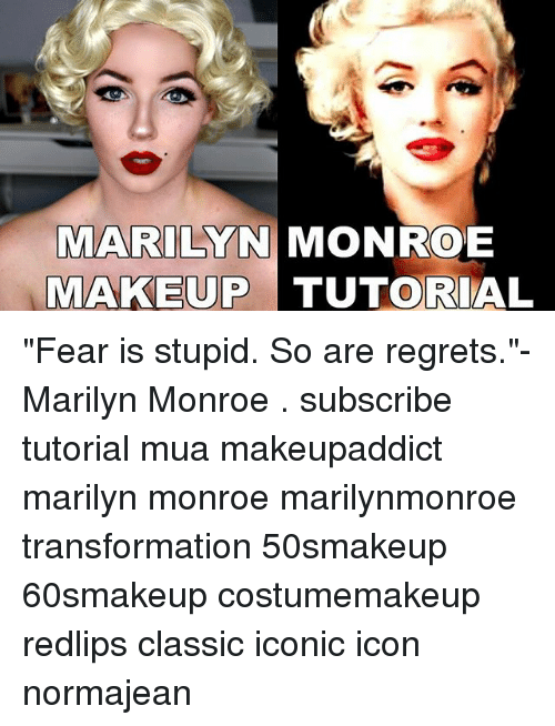 """marilynmonroe: MARILYN MONROE  MAKEUP TUTORIAL """"Fear is stupid. So are regrets.""""- Marilyn Monroe . subscribe tutorial mua makeupaddict marilyn monroe marilynmonroe transformation 50smakeup 60smakeup costumemakeup redlips classic iconic icon normajean"""