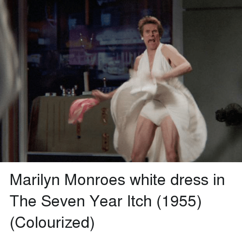Marilyn Monroe: Marilyn Monroes white dress in The Seven Year Itch (1955) (Colourized)