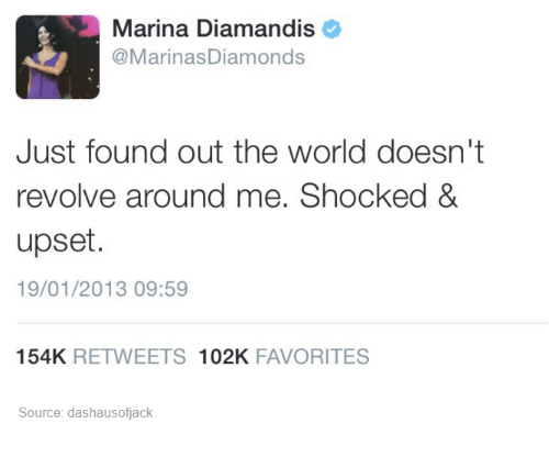 World, Humans of Tumblr, and Source: Marina Diamandis  @MarinasDiamonds  Just found out the world doesn't  revolve around me. Shocked &  upset.  19/01/2013 09:59  154K RETWEETS 102K FAVORITES  Source: dashausofjack