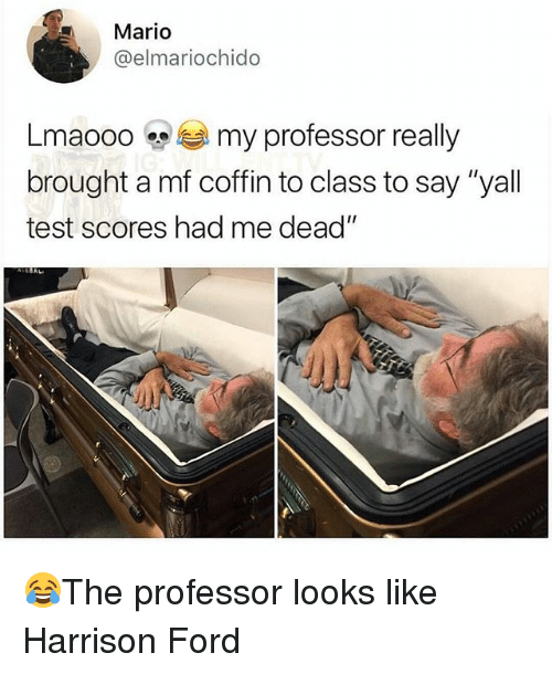 "Harrison Ford, Memes, and Mario: Mario  @elmariochido  Lmaooo my professor really  brought a mf coffin to class to say ""yall  test scores had me dead""  AL 😂The professor looks like Harrison Ford"