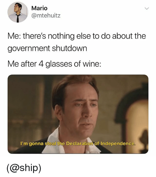 Mario, Wine, and Declaration of Independence: Mario  @mtehuitz  Me: there's nothing else to do about the  government shutdown  Me after 4 glasses of wine:  I'm gonna steal the Declaration of Independence (@ship)