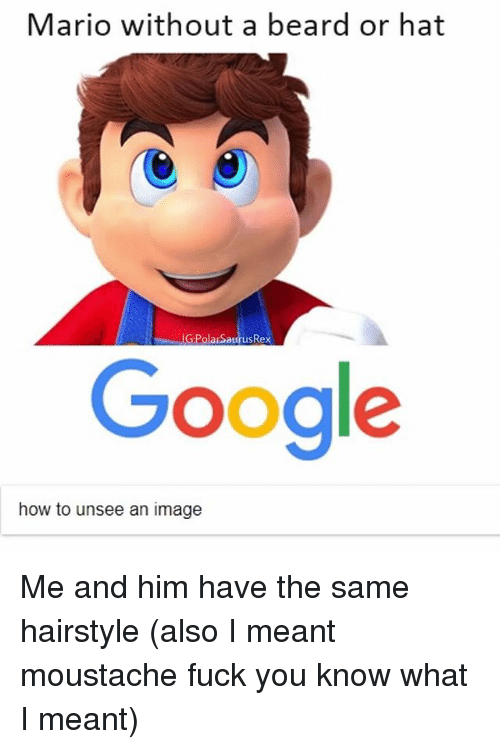 Beard, Fuck You, and Memes: Mario without a beard or hat  G:PolarSaurusRex  Googl  how to unsee an image Me and him have the same hairstyle (also I meant moustache fuck you know what I meant)