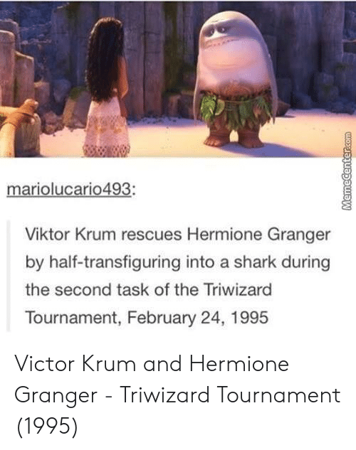 hermione granger: mariolucario493:  Viktor Krum rescues Hermione Granger  by half-transfiguring into a shark during  the second task of the Triwizard  Tournament, February 24, 1995 Victor Krum and Hermione Granger - Triwizard Tournament (1995)