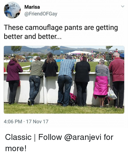 Memes, 🤖, and Nov: Marisa  @FriendOFGay  These camouflage pants are getting  better and better.  4:06 PM 17 Nov 17 Classic | Follow @aranjevi for more!