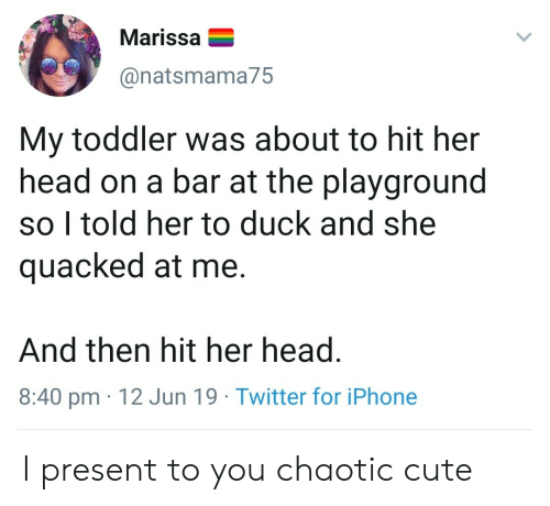 I Present: Marissa  @natsmama75  My toddler was about to hit her  head on a bar at the playground  so I told her to duck and she  quacked at me.  And then hit her head.  8:40 pm 12 Jun 19 Twitter for iPhone I present to you chaotic cute