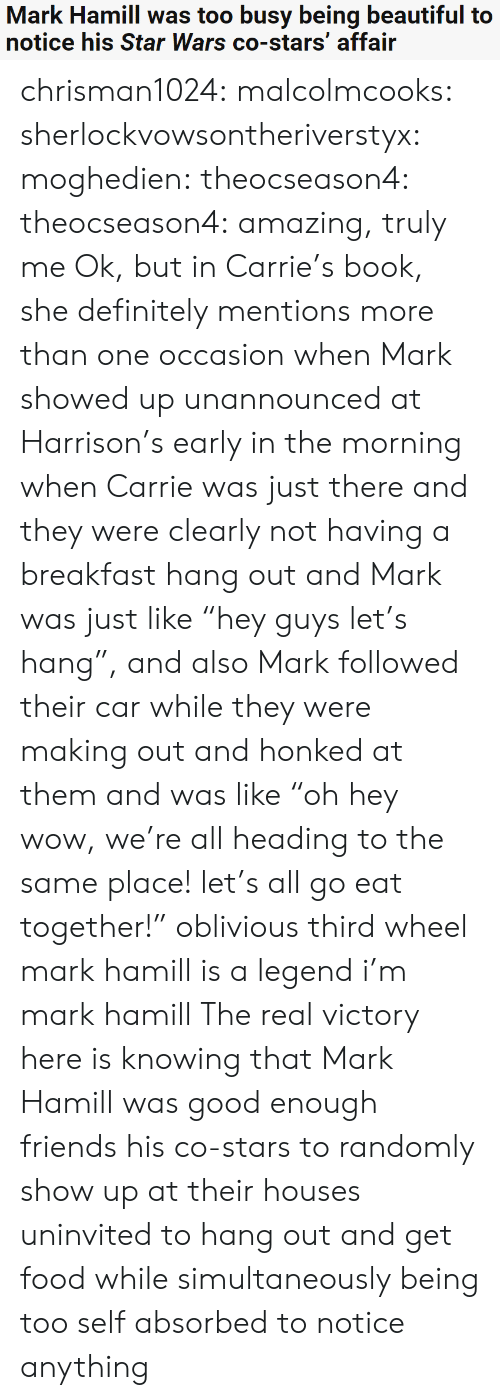 "Harrison: Mark Hamill was too busy being beautiful to  notice his Star Wars co-stars' affair chrisman1024: malcolmcooks:  sherlockvowsontheriverstyx:  moghedien:  theocseason4:  theocseason4: amazing, truly me  Ok, but in Carrie's book, she definitely mentions more than one occasion when Mark showed up unannounced at Harrison's early in the morning when Carrie was just there and they were clearly not having a breakfast hang out and Mark was just like ""hey guys let's hang"", and also Mark followed their car while they were making out and honked at them and was like ""oh hey wow, we're all heading to the same place! let's all go eat together!""   oblivious third wheel mark hamill is a legend   i'm mark hamill   The real victory here is knowing that Mark Hamill was good enough friends his co-stars to randomly show up at their houses uninvited to hang out and get food while simultaneously being too self absorbed to notice anything"