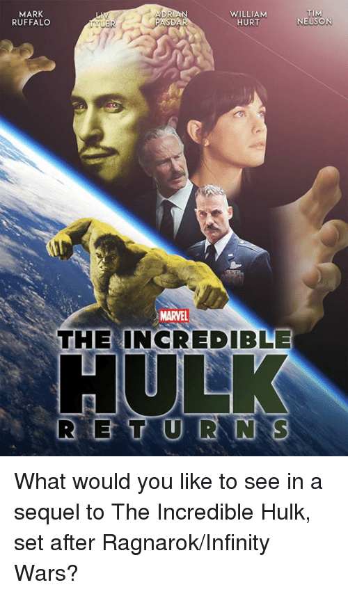 incredible hulk: MARK  RUFFALO  WILLIAM  HURT  TIM  NELSON  MARVEL  THE INCREDIBLE What would you like to see in a sequel to The Incredible Hulk, set after Ragnarok/Infinity Wars?