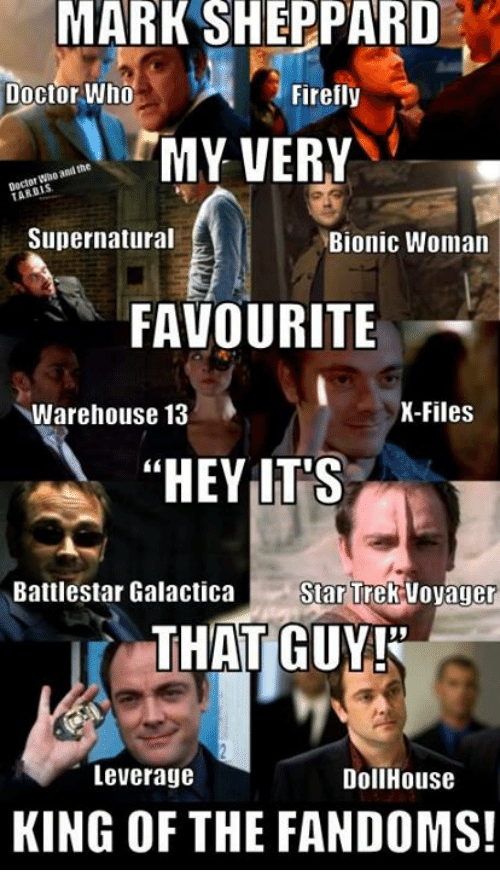 "Leverage: MARK  SHEPPARD  Doctor Who  Firefly  MY VERY  ani the  gocto  Supernatural  Bionic Woman  FAVOURITE  Warehouse 13  K-Files  ""HEY LT'S  Battlestar Galactica StarT  rek Voyager  THAT GUY!  15  Leverage  DollHouse  KING OF THE FANDOMS!"