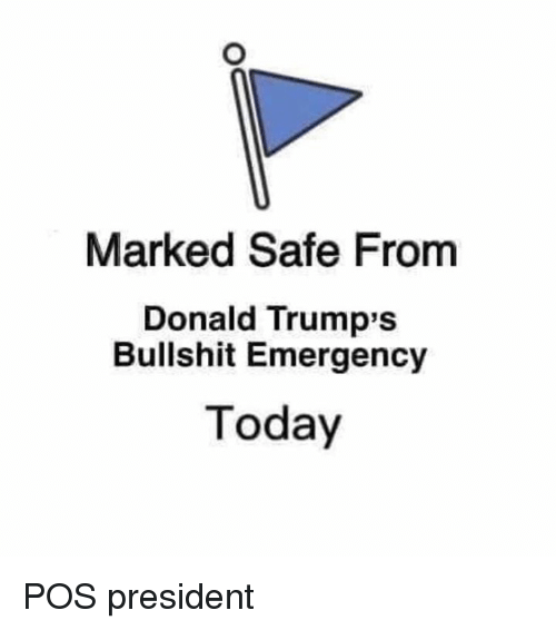 Donald Trumps: Marked Safe From  Donald Trump's  Bullshit Emergency  Today POS president