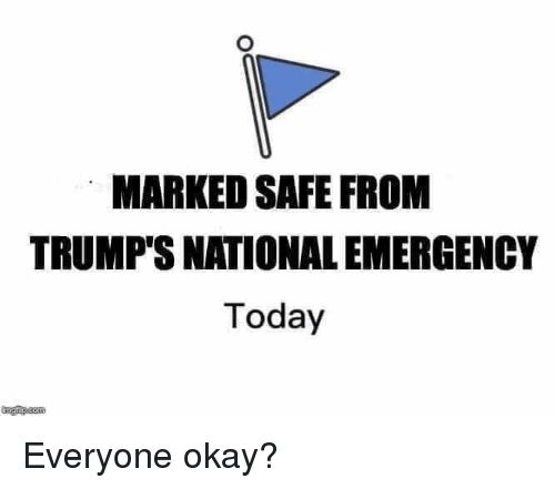 Marked Safe: MARKED SAFE FROM  TRUMP'S NATIONAL EMERGENCY  Today Everyone okay?