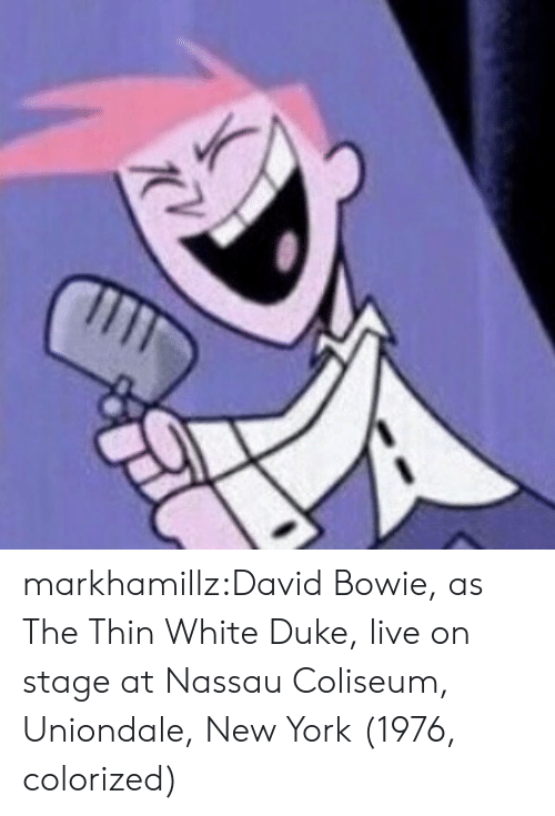 David Bowie: markhamillz:David Bowie, as The Thin White Duke, live on stage at Nassau Coliseum, Uniondale, New York (1976, colorized)