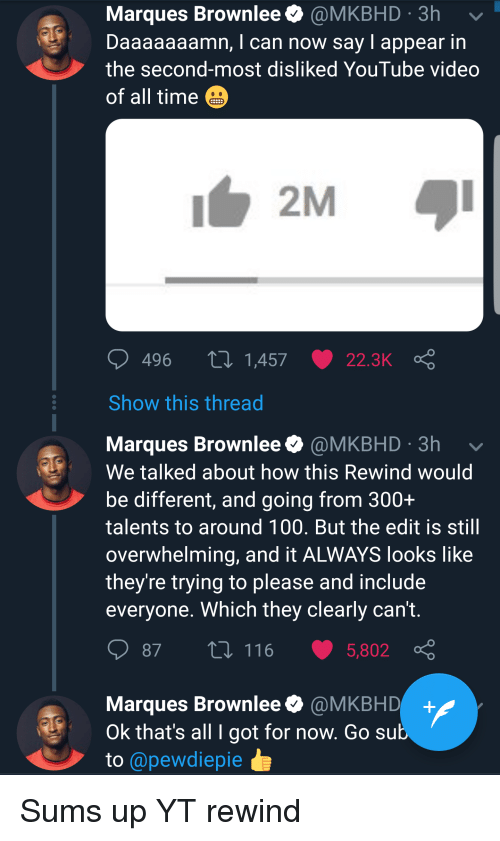 Daaaaaaamn: Marques Brownlee @MKBHD 3h  Daaaaaaamn, I can now say I appear in  the second-most disliked YouTube video  of all time  496  1,457  22.3K  Show this thread  Marques Brownlee @MKBHD 3h  We talked about how this Rewind would  be different, and going from 300+  talents to around 100. But the edit is still  overwhelming, and it ALWAYS looks like  they're trying to please and include  everyone. Which they clearly can't  87 t 116 5,802  Marques Brownlee@MKBHD+  Ok that's all I got for now. Go sub  to @pewdiepie
