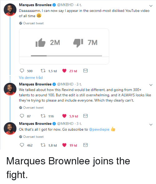 Daaaaaaamn: Marques Brownlee@MKBHD .4 t  Daaaaaaamn, I can now say I appear in the second-most disliked YouTube video  of all time  Oversæt tweet  2M  7M  500 1.5 td 23 td  Vis denne tråd  Marques Brownlee @MKBHD.3t  We talked about how this Rewind would be different, and going from 300+  talents to around 100. But the edit is still overwhelming, and it ALWAYS looks like  they're trying to please and include everyo  Overset tweet  87t 116 5,9td  Marques Brownlee @MKBHD.3t  Ok that's all I got for now. Go subscribe to @pewdiepie  Overset tweet  4621.8 td 19 td