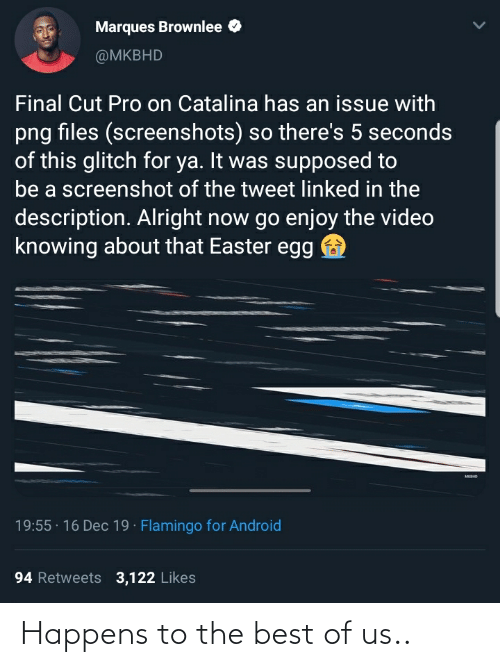 catalina: Marques Brownlee  @MKBHD  Final Cut Pro on Catalina has an issue with  png files (screenshots) so there's 5 seconds  of this glitch for ya. It was supposed to  be a screenshot of the tweet Ilinked in the  description. Alright now go enjoy the video  knowing about that Easter egg  MKSHO  19:55 · 16 Dec 19 · Flamingo for Android  94 Retweets 3,122 Likes Happens to the best of us..