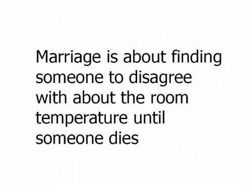room temperature: Marriage is about finding  someone to disagree  with about the room  temperature until  someone dies