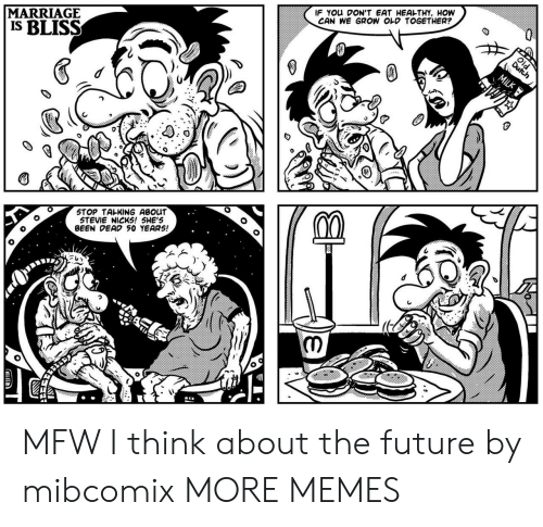 MFW: MARRIAGE  IS BLISS  IF You DON'T EAT HEAL-THY, HOW  CAN WE GROW OLD TOGETHER?  STOP TALKING ABOUT  STEVIE NICKS! 5HE'S  BEEN DEAD 50 YEAR5! MFW I think about the future by mibcomix MORE MEMES