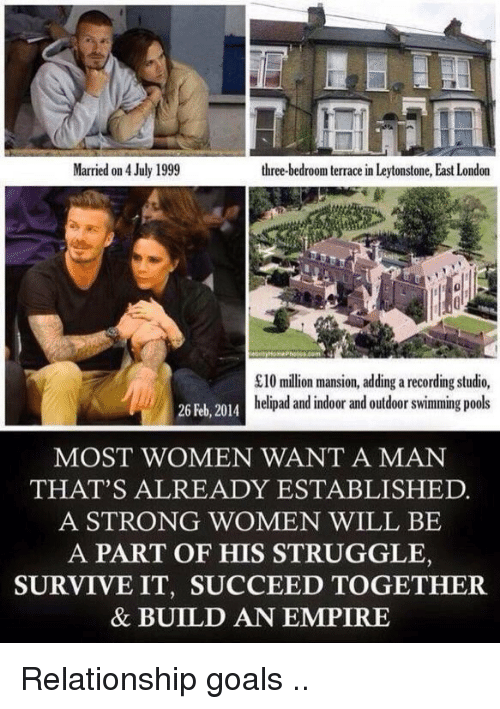 Empire: Married on 4 July 1999  three-bedroom terrace in Leytonstone, East London  £10 million mansion, adding a recording studio,  helipad and indoor and outdoor swimming pools  26 Feb, 2014  MOST WOMEN WANT A MAN  THAT'S ALREADY ESTABLISHED.  A STRONG WOMEN WILL BE  A PART OF HIS STRUGGLE,  SURVIVE IT, SUCCEED TOGETHER.  & BUILD AN EMPIRE Relationship goals ..