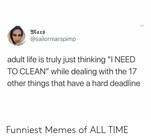 "Mars: Mars  @sailormarspimp  adult life is truly just thinking ""I NEED  TO CLEAN"" while dealing with the 17  other things that have a hard deadline Funniest Memes of ALL TIME"