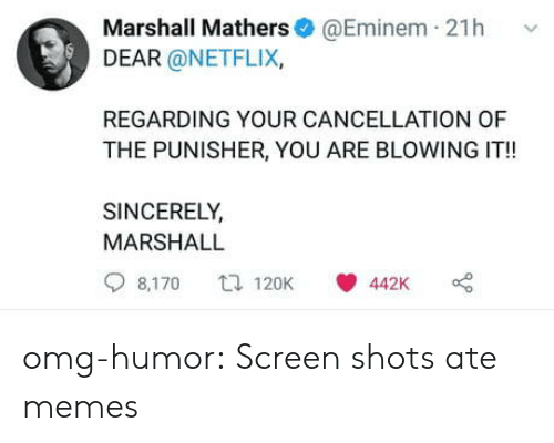 Punisher: Marshall Mathers@Eminem 21h v  DEAR @NETFLIX,  REGARDING YOUR CANCELLATION OF  THE PUNISHER, YOU ARE BLOWING IT!!  SINCERELY  MARSHALL  8,170 120K 442K o omg-humor:  Screen shots ate memes