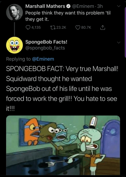 marshall: Marshall Mathers  @Eminem 3h  People think they want this problem 'til  they get it.  4,135  t23.2K  80.7K  SpongeBob Facts!  @spongbob_facts  Replying to @Eminem  SPONGEBOB FACT: Very true Marshall!  Squidward thought he wanted  SpongeBob out of his life until he was  forced to work the gril!! You hate to see  it!!