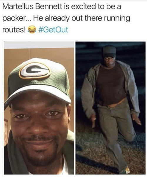 packer: Martellus Bennett is excited to be a  packer... He already out there running  routes!  #Get Out