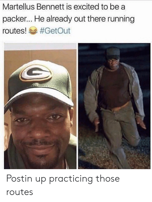 martellus: Martellus Bennett is excited to be a  packer... He already out there running  routes! sa Postin up practicing those routes