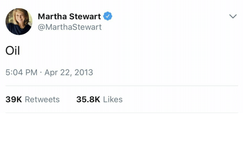 Martha Stewart, Apr, and Likes: Martha Stewart  @MarthaStewart  Oil  5:04 PM Apr 22, 2013  39K Retweets  35.8K Likes