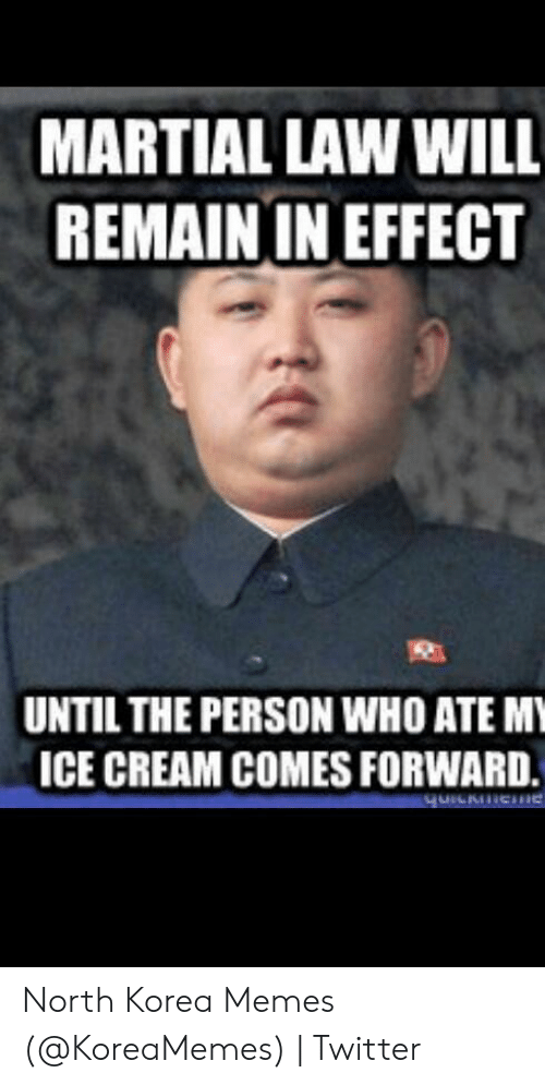North Korea Meme: MARTIAL LAW WILL  REMAIN IN EFFECT  UNTIL THE PERSON WHO ATE MY  ICE CREAM COMES FORWARD  qurCkeme North Korea Memes (@KoreaMemes) | Twitter