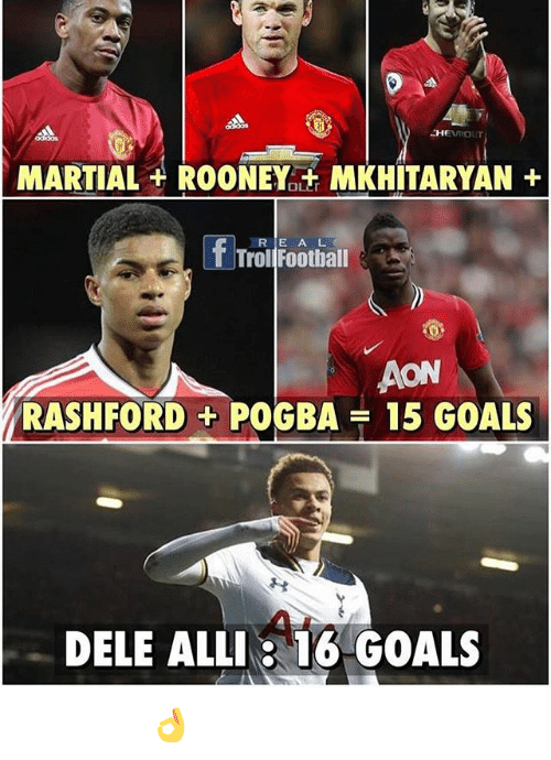 Fords: MARTIAL ROONEY it MKHITARYAN  f Tral Football  AON  RASH FORD POGBA 15 GOALS  DELE ALLI: 16 GOALS المال لايصنع الرجاال 👌