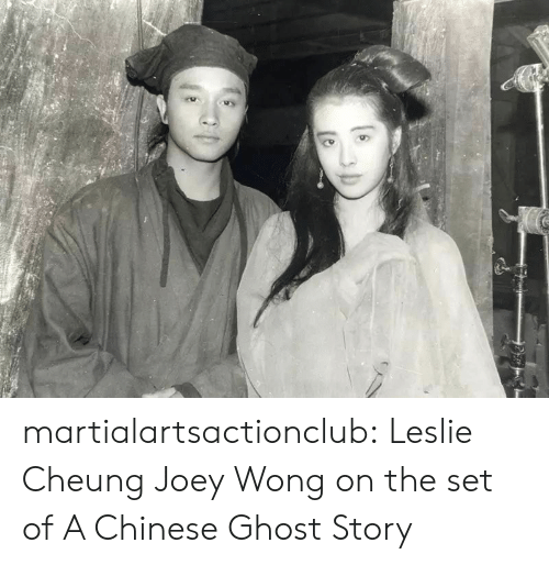 Joeys: martialartsactionclub:  Leslie Cheung  Joey Wong on the set of A Chinese Ghost Story