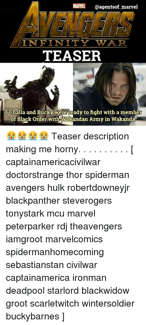 Horny, Memes, and Deadpool: MARVEL @agentsof marvel  IN FINITY WAR  TEASER  IR  T'Challa and Bucky were ready to fight with a member  of Black oftderwith Wakandan Aimy in Wäkanda  of Black Order with Wakandan Army in Wakanda 😭😭😭😭 Teaser description making me horny. . . . . . . . . . [ captainamericacivilwar doctorstrange thor spiderman avengers hulk robertdowneyjr blackpanther steverogers tonystark mcu marvel peterparker rdj theavengers iamgroot marvelcomics spidermanhomecoming sebastianstan civilwar captainamerica ironman deadpool starlord blackwidow groot scarletwitch wintersoldier buckybarnes ]