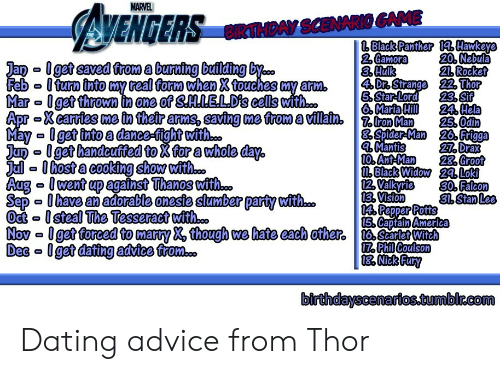 pepper potts: MARVEL  AVENGERS  CIRTHDAY SCENARIO GAME  | Black Panther 1Hawkeye  2 Gamora  3.Hulk  4 Dr. Strange 22 Thor  5.Star-Lord  Maria Hill  20.Nebula  21. Rocket  Jan get saved from a burning building by..  Feb Iturn into my real form when X touches my arm.  Mar Iget thrown n one of SLELD's cells with...  Apr Xcarries me in their arms, saving me from a villain7roMan  May- 0get into a dance-fight with...  Jun Iget handcuffed to X for a whole day,  Jalhost a cooking show with..  Aug went up against Thanos with..  Sep 0have an adorable oneste slumber party with...  Oct-steal The Tesseract wit..  Nov get forced to marty X, though we hate each ofher. Searlet Witch  Dec Iget dating advice from..  23.Sif  24. Hela  25.Odin  8 Spider-Man 26. Frigga  4 Mantis  10. Ant-Man  M Black Widow 24. Loki  12. Valkyrie  13. Vision  14 Pepper Potts  15. Captain America  27. Drax  28. Groot  30. Falcon  31. Stan Lee  17. Phil Coulson  | 18 Nick Fury  birthdayscenarios.tumbir.com Dating advice from Thor