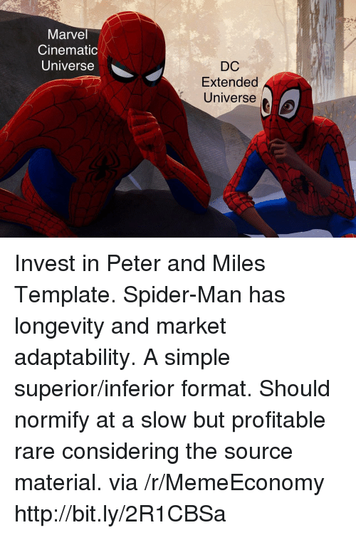 marvel cinematic universe: Marvel  Cinematic  Universe  DC  Extended  Universe Invest in Peter and Miles Template. Spider-Man has longevity and market adaptability. A simple superior/inferior format. Should normify at a slow but profitable rare considering the source material. via /r/MemeEconomy http://bit.ly/2R1CBSa