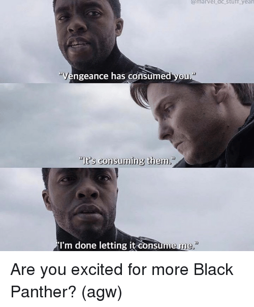 "Memes, Yeah, and Black: @marvel dc sturr yeah  Vengeance has consumed you  ""It's consuming them  I'm done letting it consume Are you excited for more Black Panther?   (agw)"