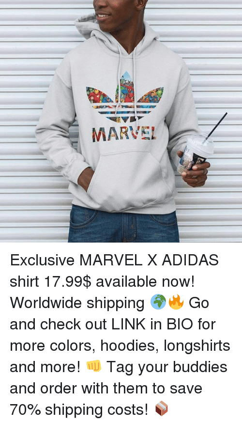 Adidas, Memes, and Link: MARVEL Exclusive MARVEL X ADIDAS shirt 17.99$ available now! Worldwide shipping 🌍🔥 Go and check out LINK in BIO for more colors, hoodies, longshirts and more! 👊 Tag your buddies and order with them to save 70% shipping costs! 📦
