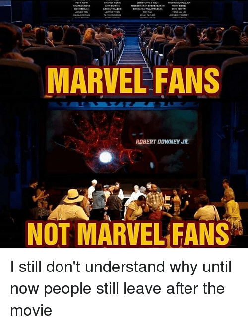 Memes, Robert Downey Jr., and Marvel: MARVEL FANS  ROBERT DOWNEY JR  NOT MARVEL EANS I still don't understand why until now people still leave after the movie