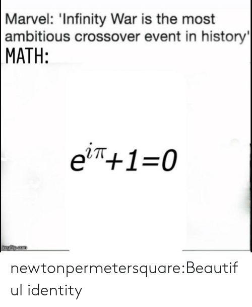 War Is: Marvel: 'Infinity War is the most  ambitious crossover event in history  MATH:  e'π+1-0  RTT newtonpermetersquare:Beautiful identity